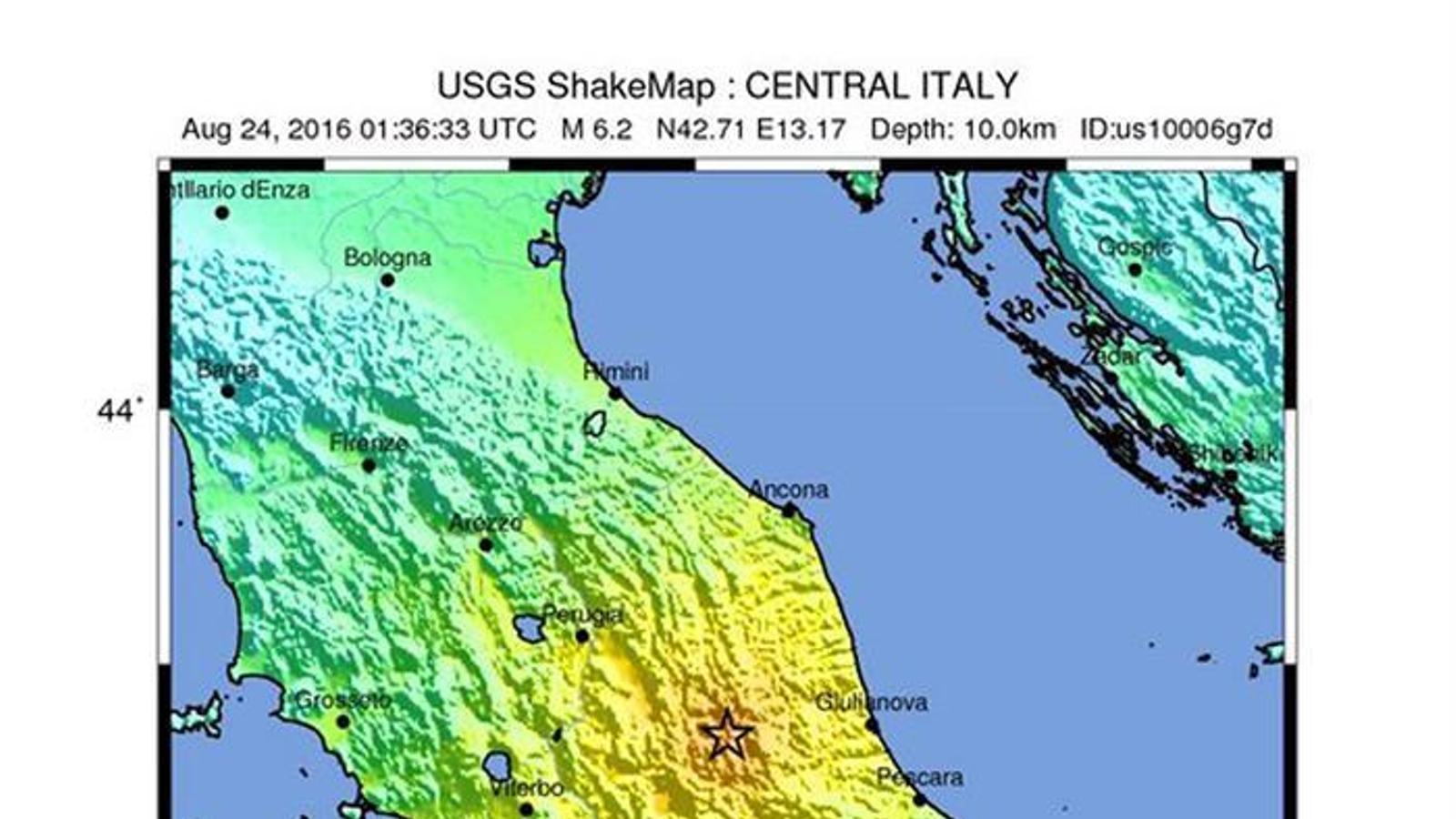 L'epicentre del terratrèmol al centre d'Itàlia