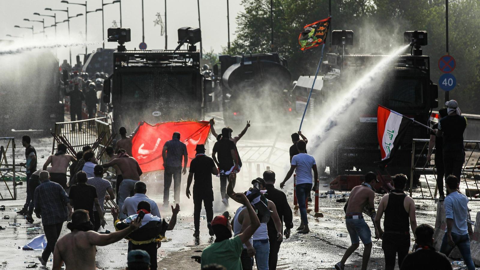 Protesta a la plaça Tahrir de Bagdad, l'1 d'Octubre