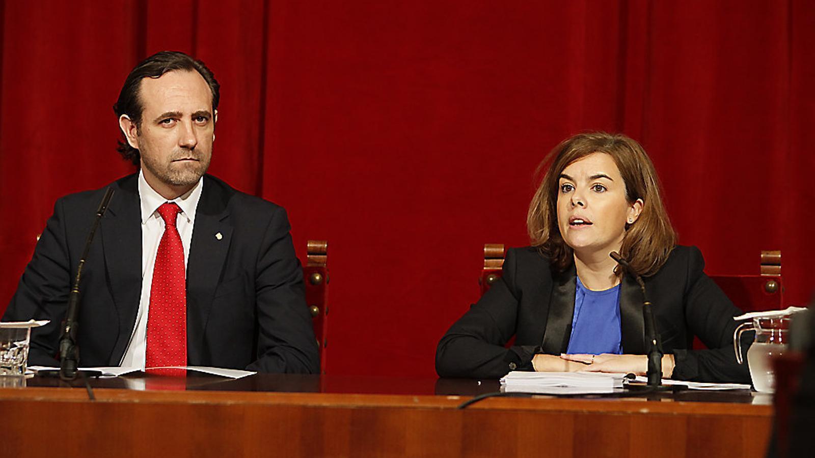 José Ramón Bauzá amb l'exvicepresidenta espanyola, Soraya Sáenz de Santamaría, que podria optar a presidir el PP.