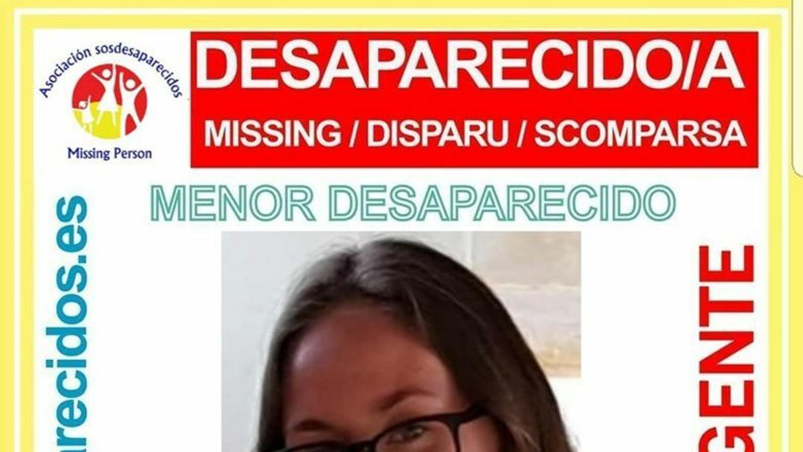 Imatge de la menor desapareguda