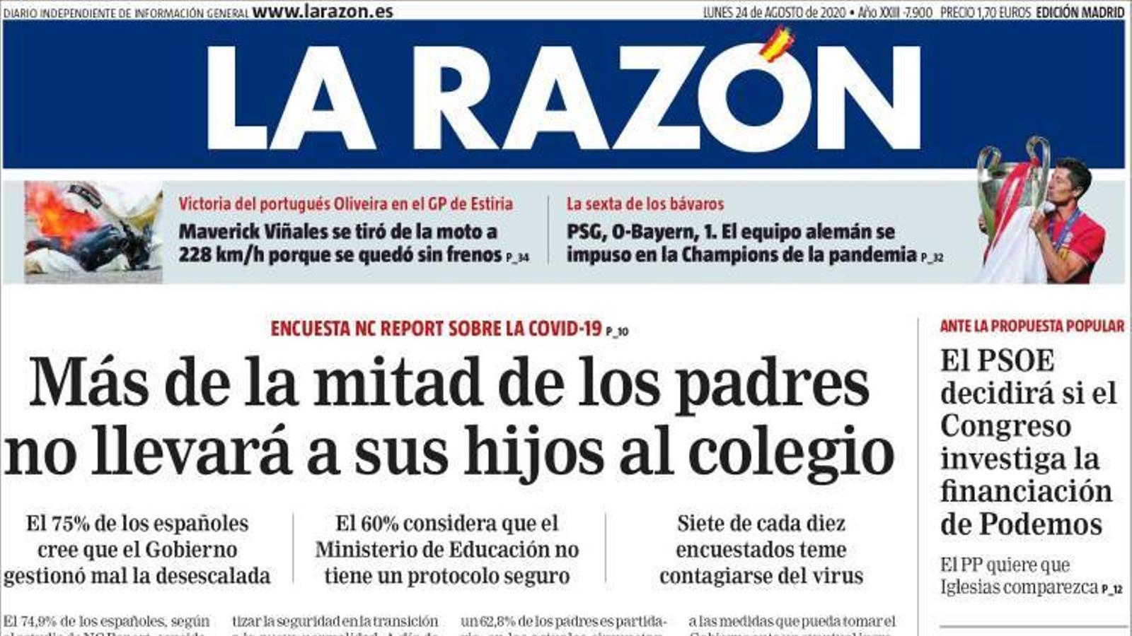 Portada de La Razón, 24 d'agost del 2020