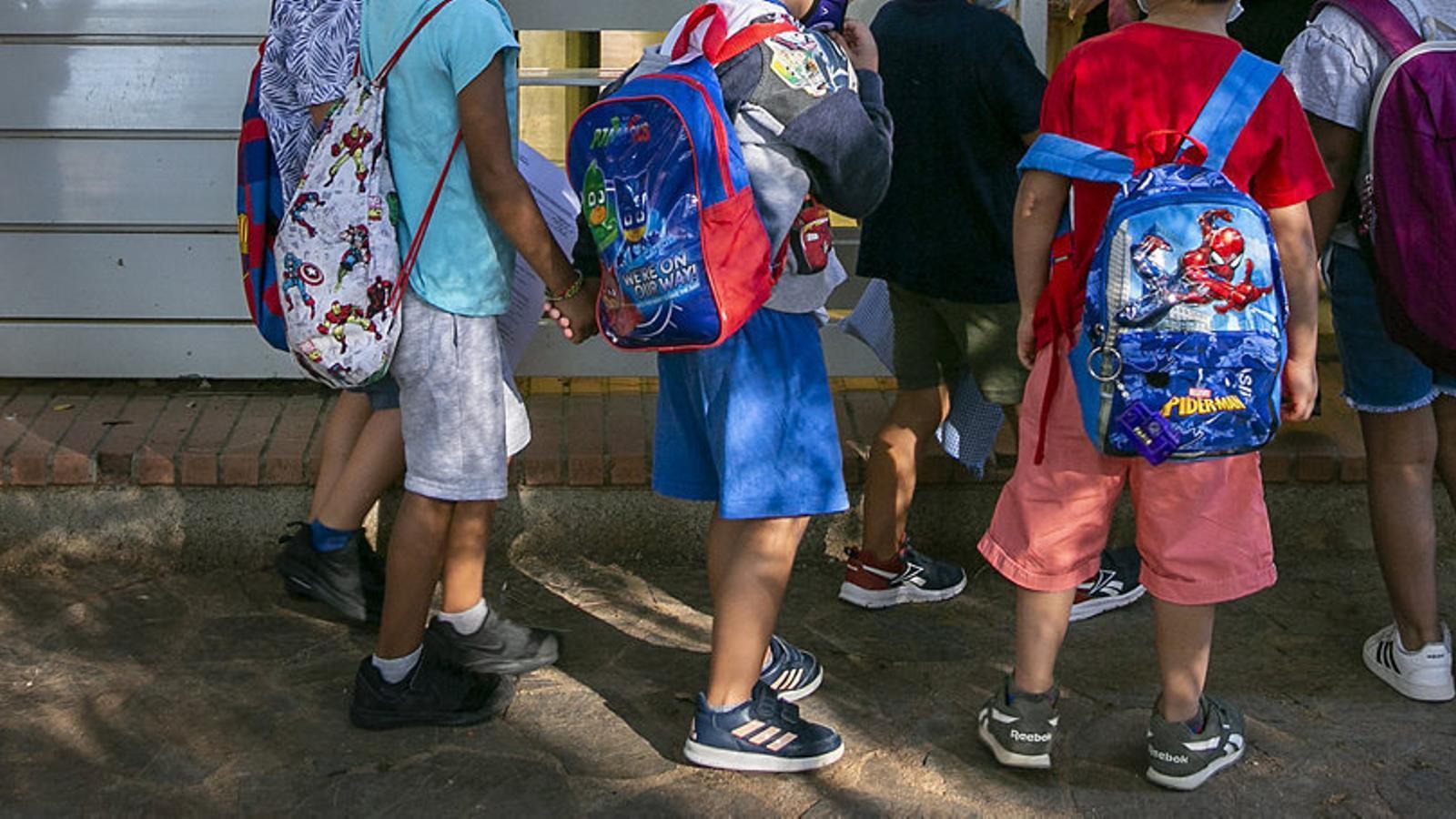 Un grup de nens d'una escola de Barcelona els primers dies de classe d'aquest curs.