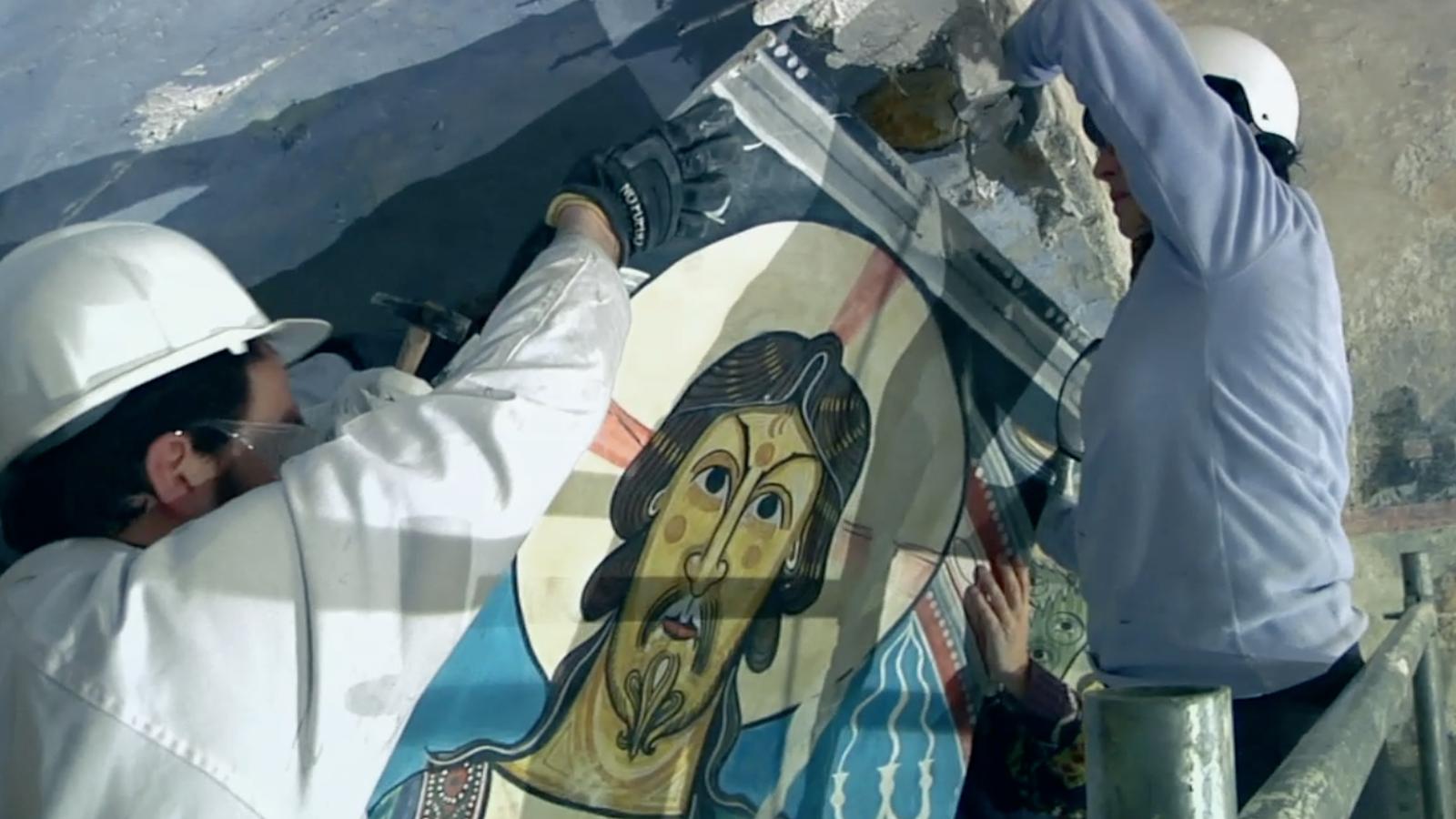 Arrenquen la pintura del pantocràtor de Taüll per museïtzar de nou l'església