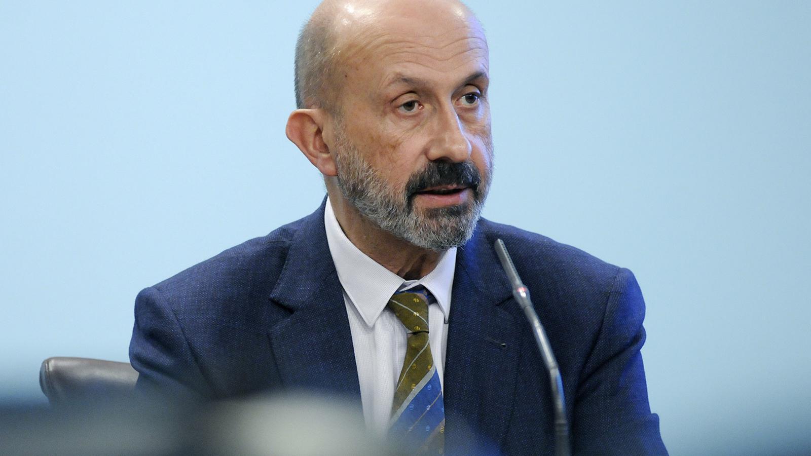 El ministre de Salut, Joan Martínez Benazet, durant la roda de premsa. / SFG