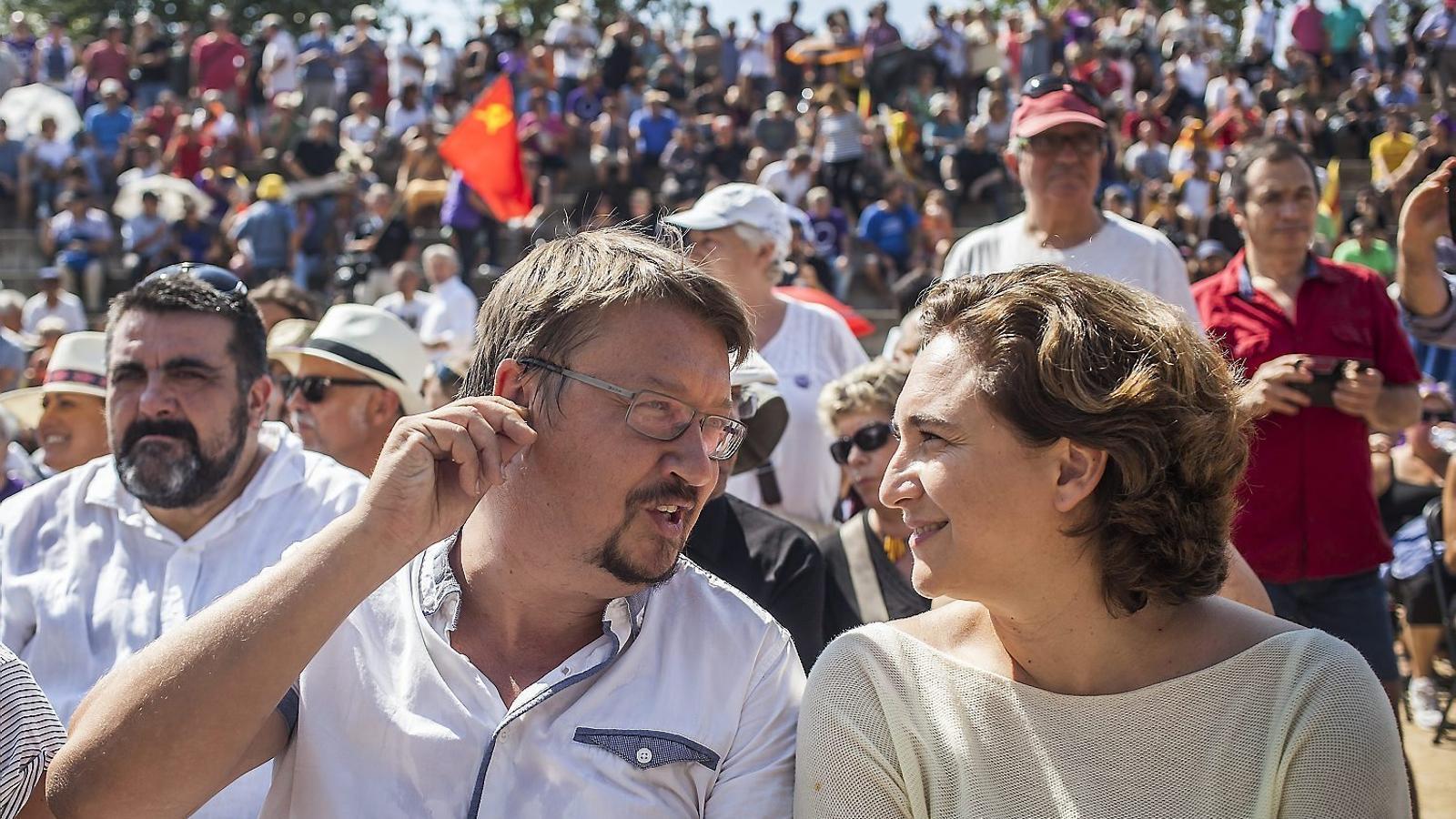 Xavier Domènech  i Ada Colau seran dues peces clau en la construcció de la nova confluència d'esquerres. / CÈLIA ATSET