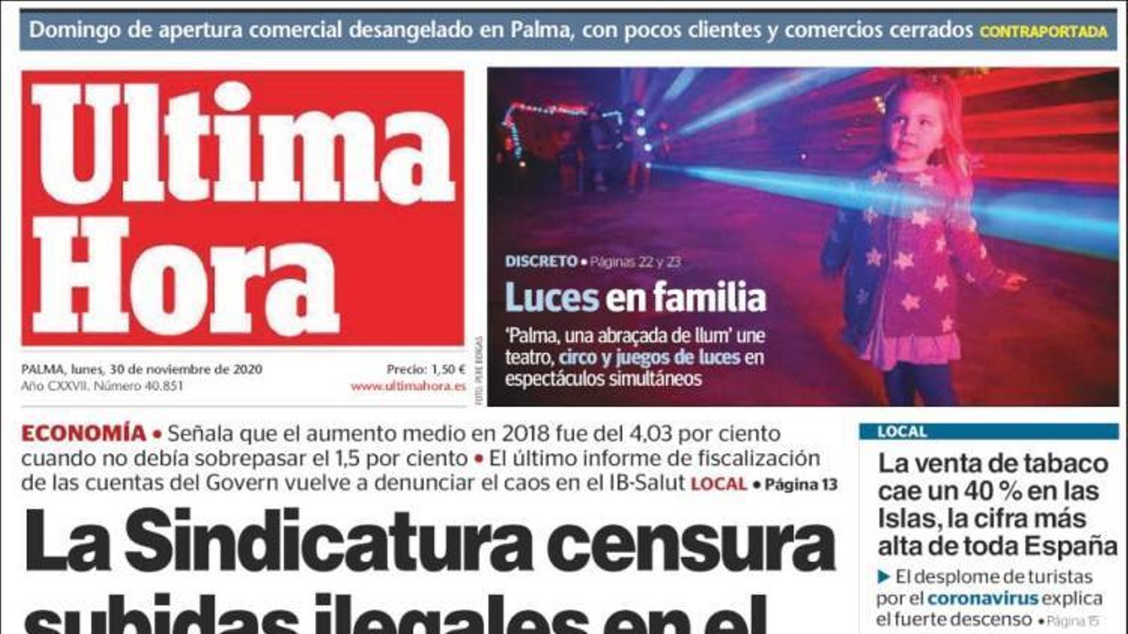 """""""La Sindicatura censura pujades il·legals en el sou de funcionaris"""", portada d''Última Hora'"""