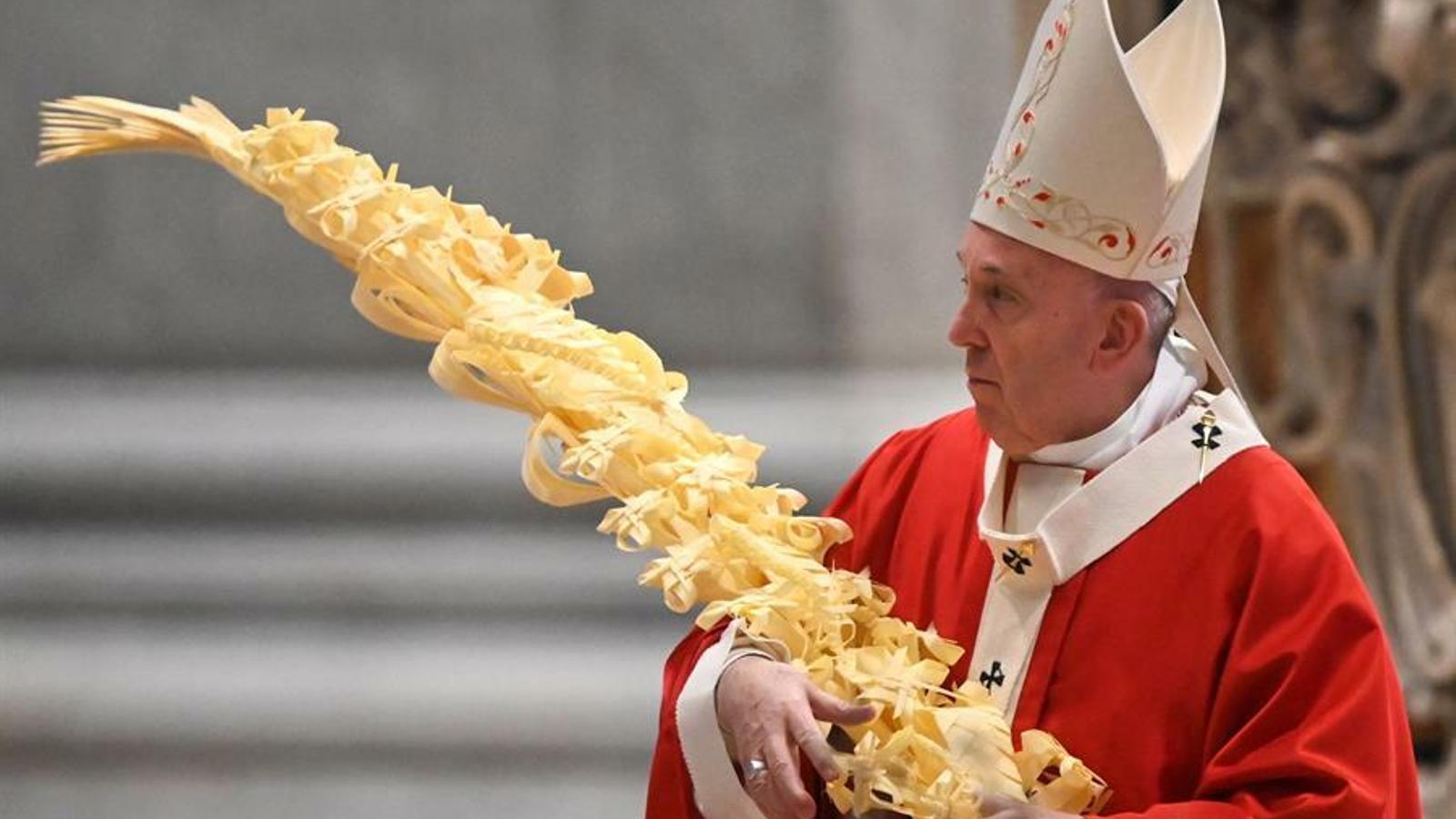 El papa Francesc a la missa de rams, aquest diumenge.