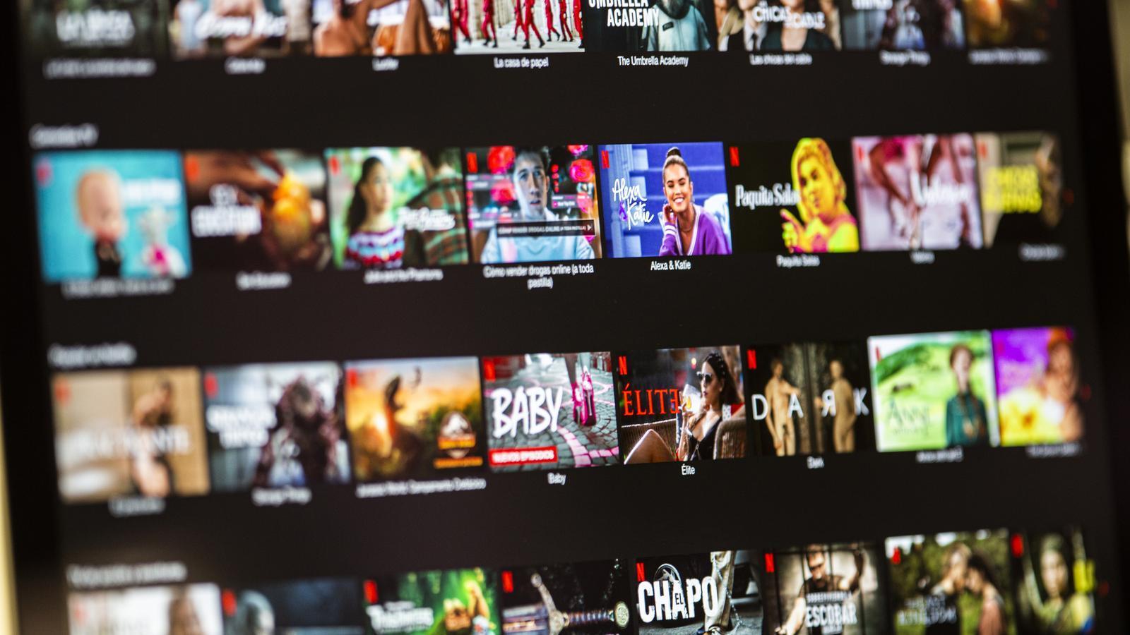 Imatge del catàleg de sèries i pel·lícules de la plataforma Netflix