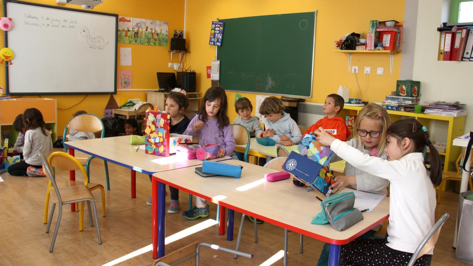 Un grup d'alumnes de l'escola Jordi Pere Cerdà de Sallagosa (Alta Cerdanya) fent activitats