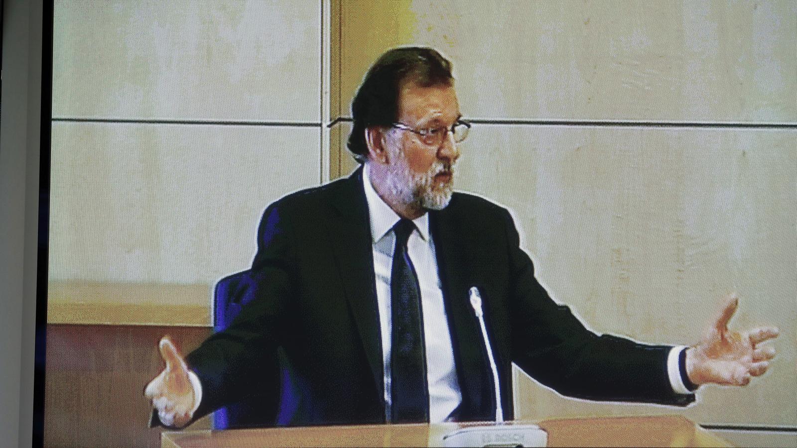 El president espanyol i líder del PP, Mariano Rajoy, durant la seva declaració com a testimoni pel cas Gürtel