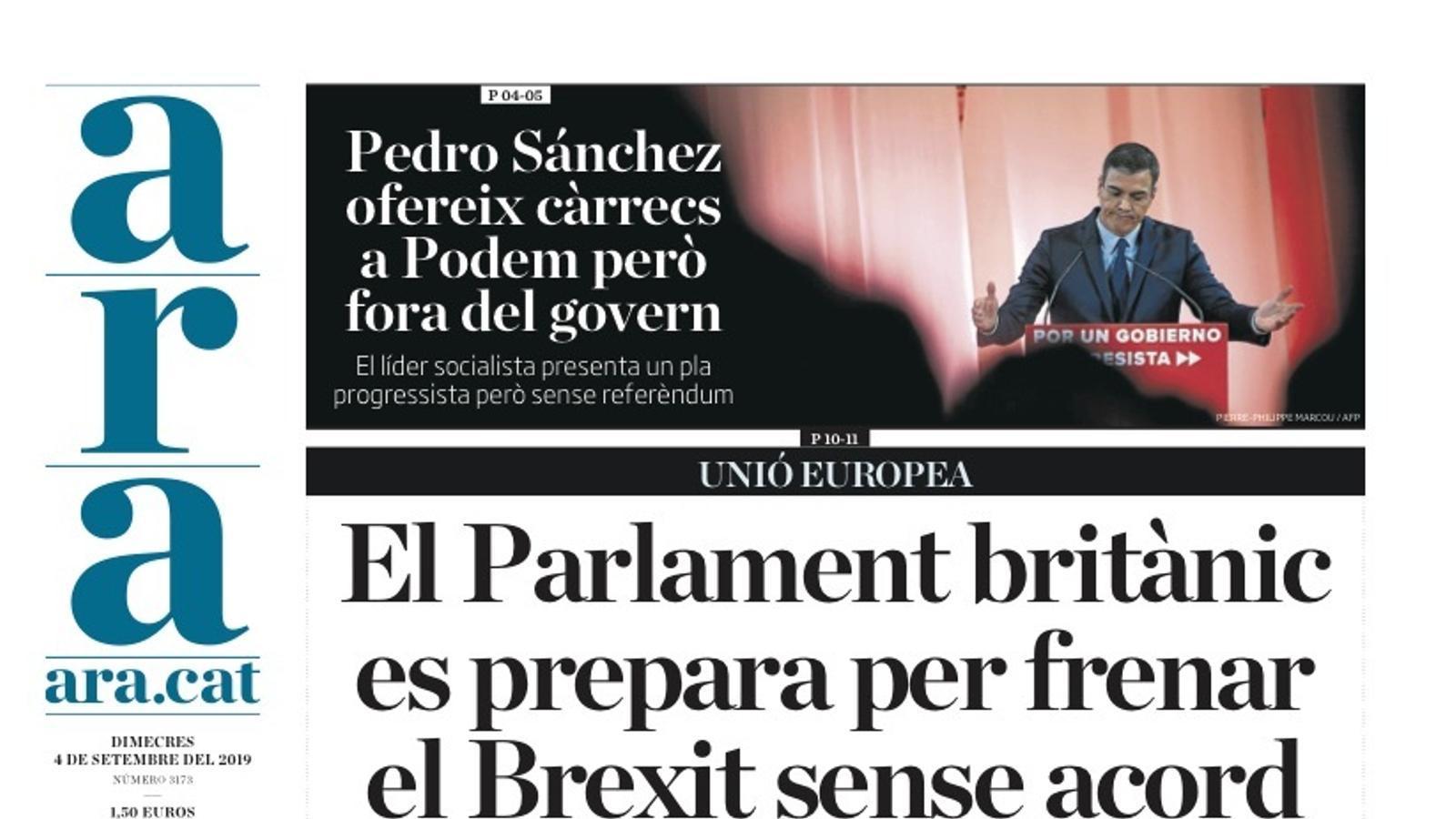 """""""El Parlament britànic es prepara per frenar el Brexit"""", portada de l'ARA"""