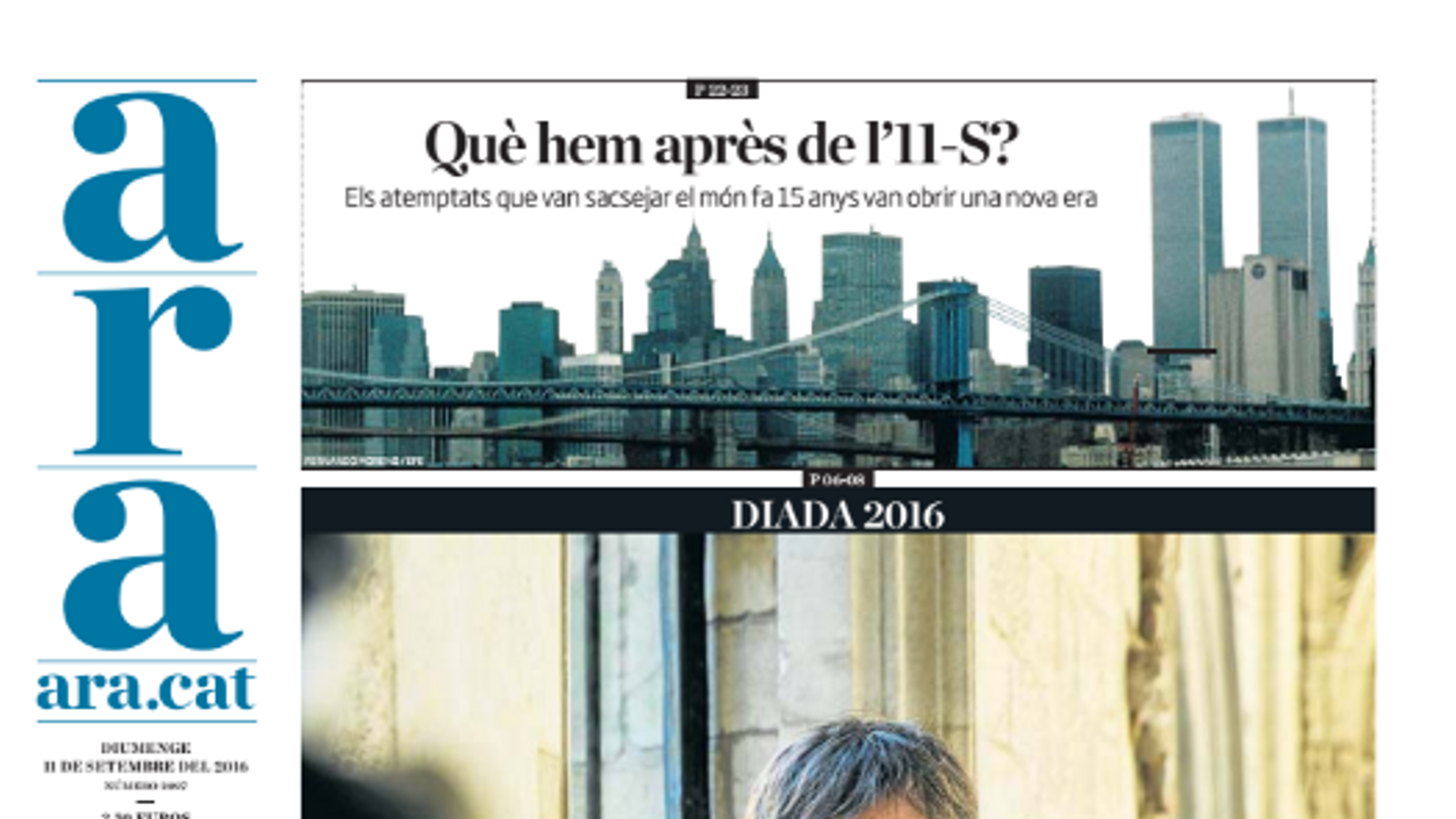 """""""Entrevista a Carles Puigdemont: 'Espanya és la que està bloquejada, no Catalunya'"""", portada de l'ARA d'aquest diumenge"""
