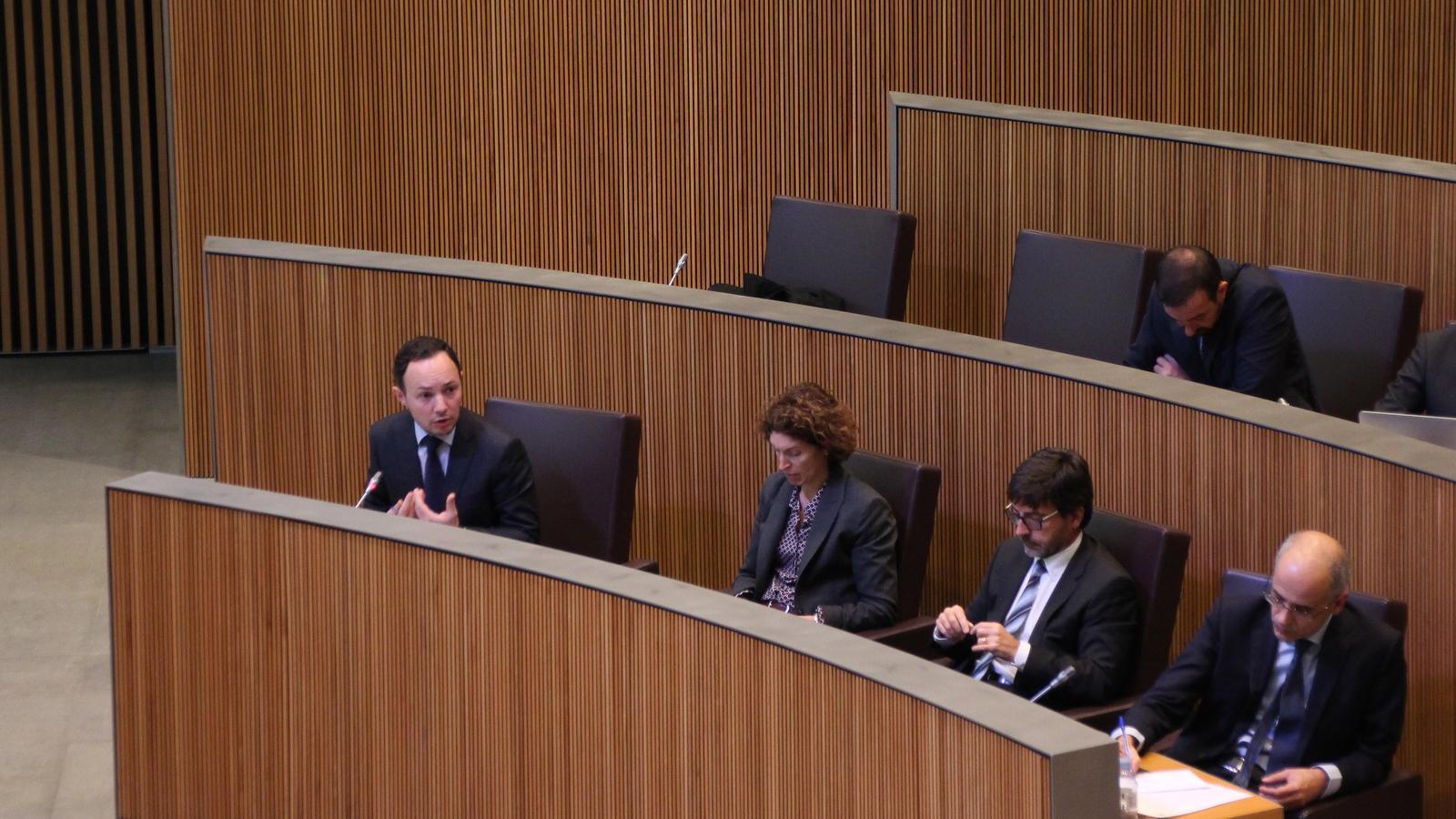 El ministre Xavier Espot, durant la seva intervenció. / M.T. (ANA)
