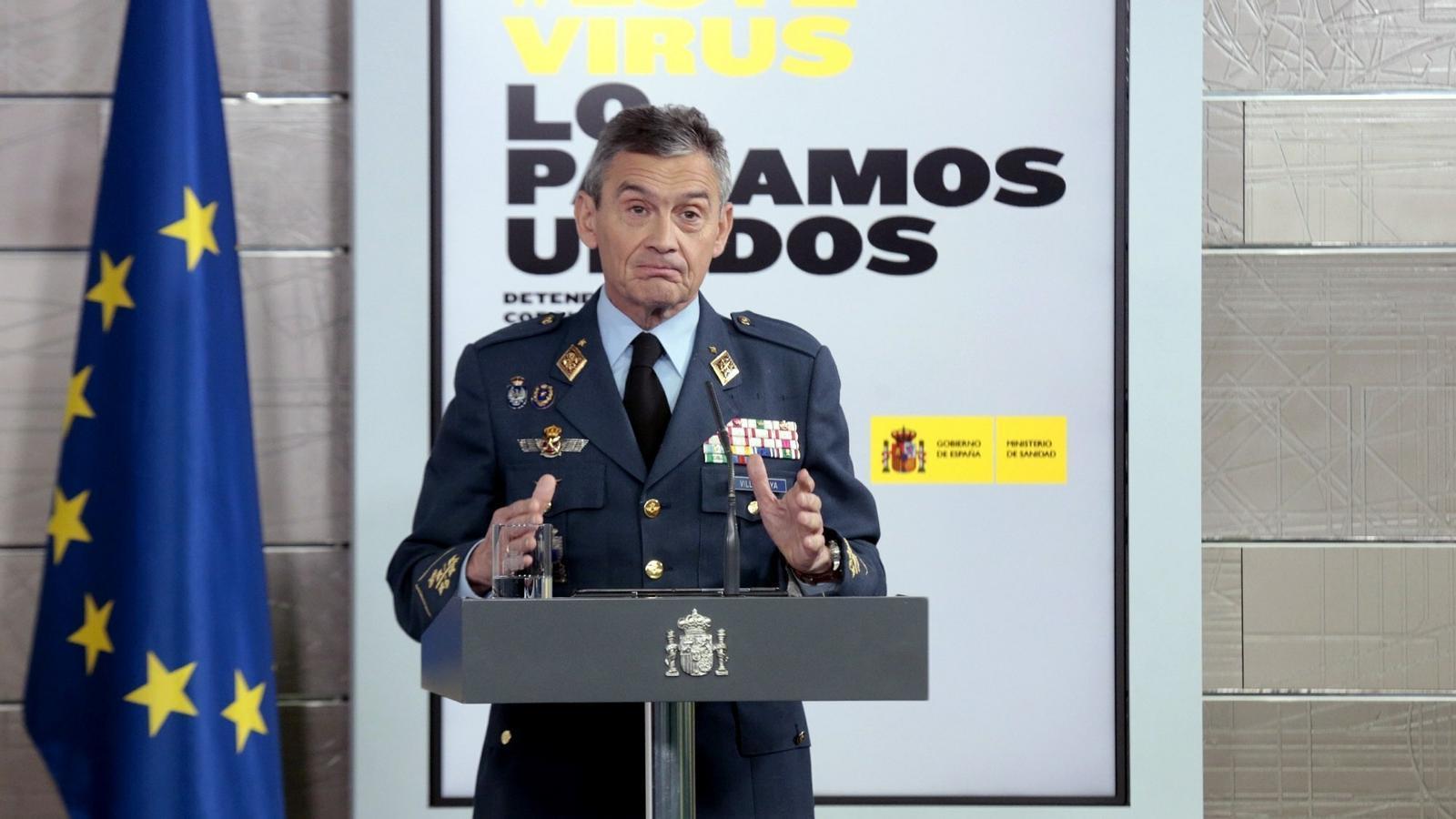 El cap d'Estat Major de la Defensa, Miguel Ángel Villarroya, en roda de premsa des de la Mocloa