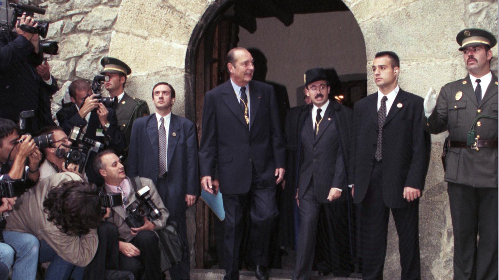 Visita de Jacques Chirac a Andorra, amb el síndic Francesc Areny. / SFG
