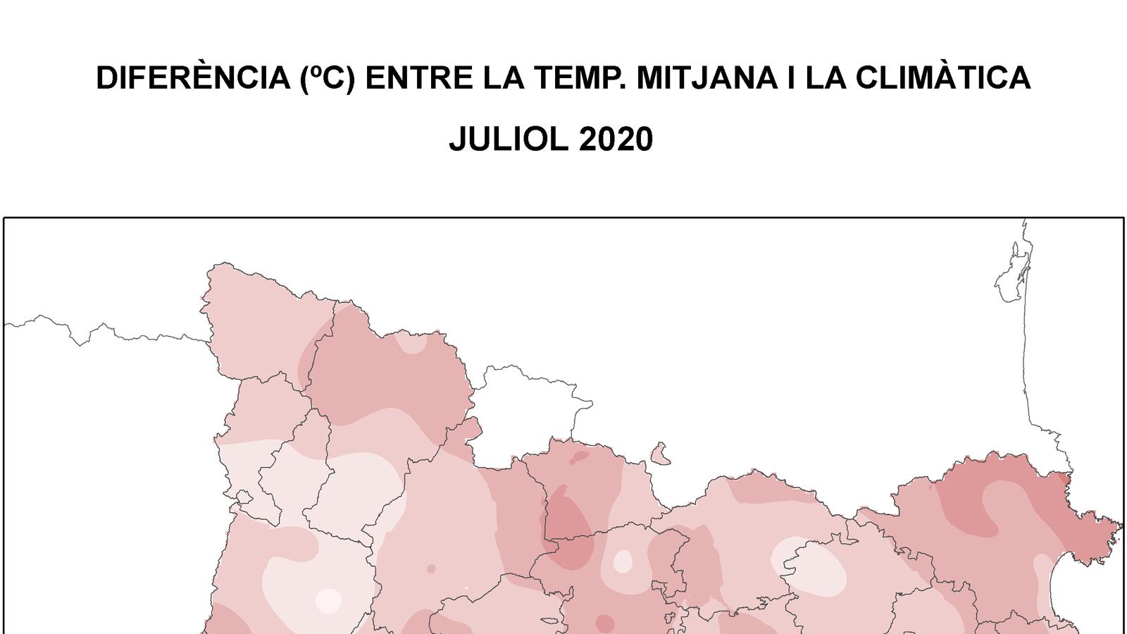 El juliol també ha estat més càlid que la mitjana climàtica