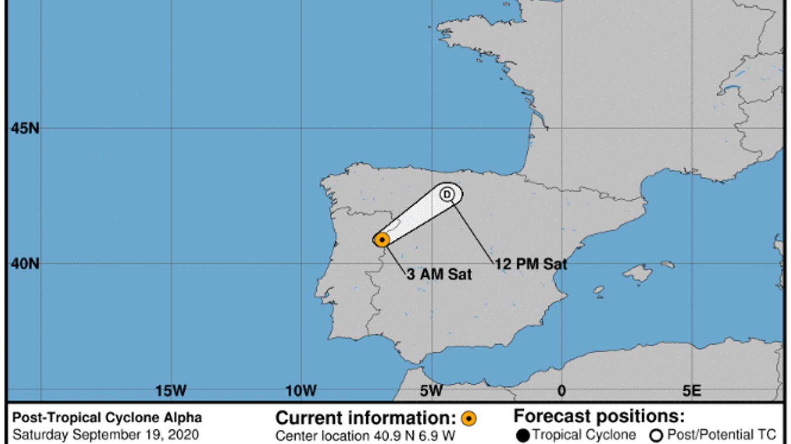 El cicló subtropical 'Alpha' ha deixat cops de vent de més de 100 km/h a Portugal