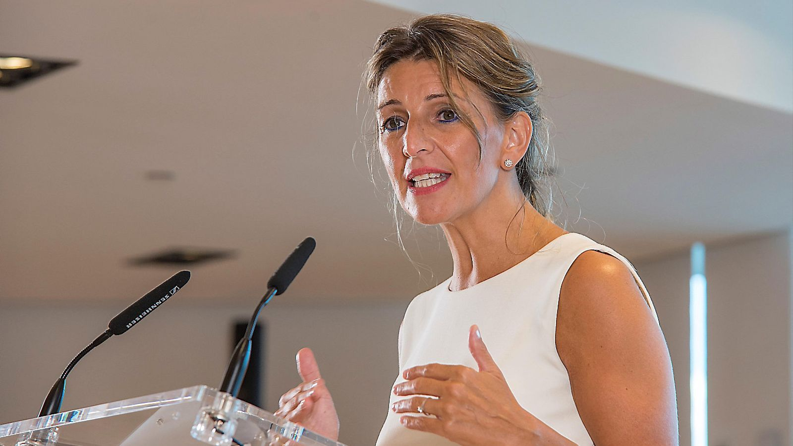 La ministra de Treball, Yolanda Díaz, ahir a Palma.
