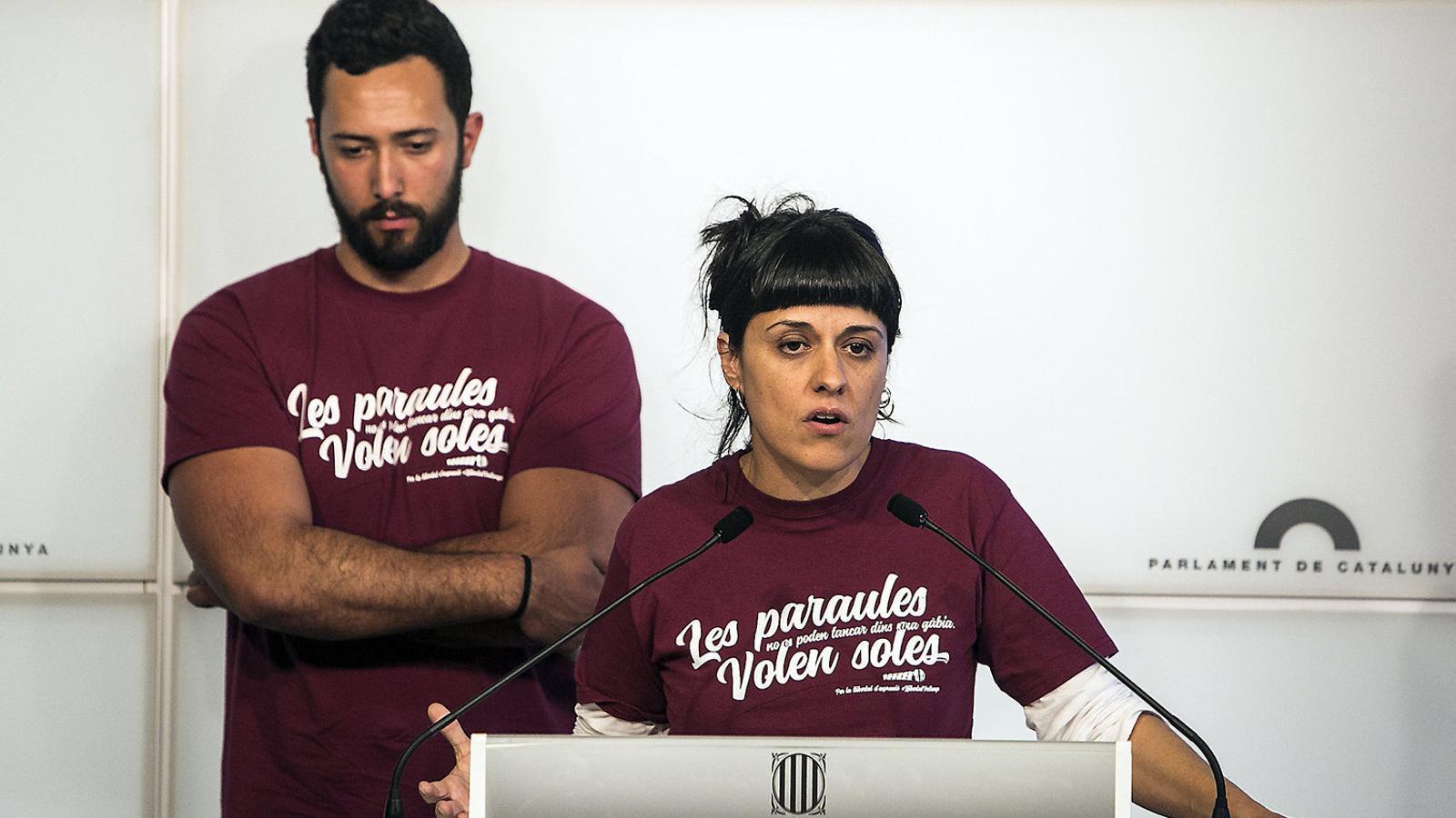 El raper mallorquí Valtonyc, en un acte al Parlament català.