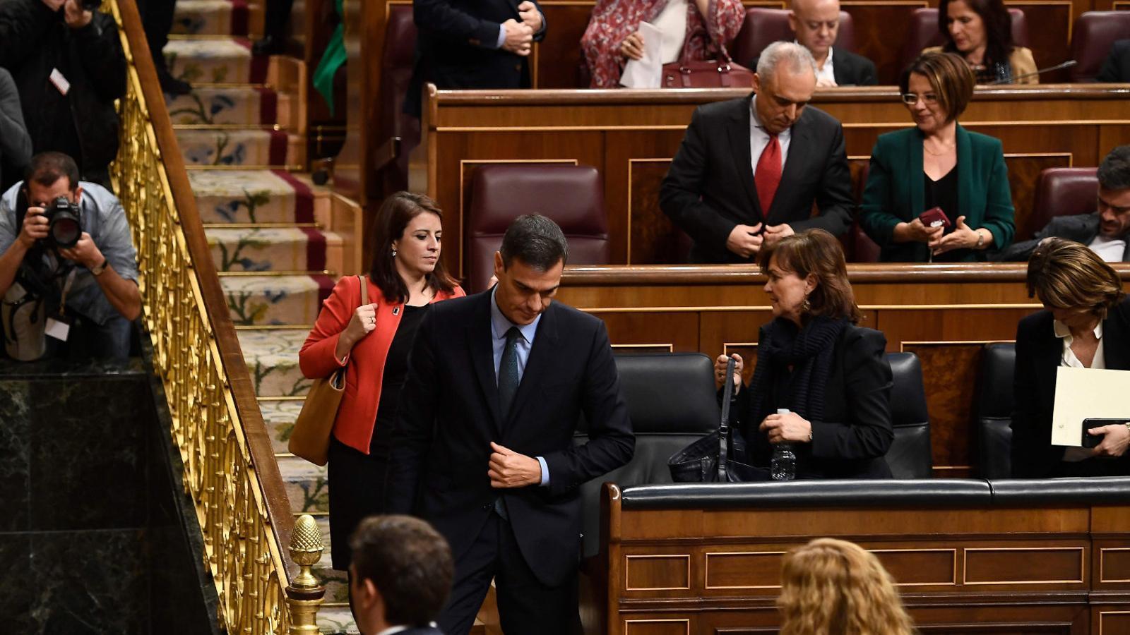 El president del govern espanyol, Pedro Sánchez, marxa del Congrés dimecres després de veure com fracassaven els seus pressupostos.