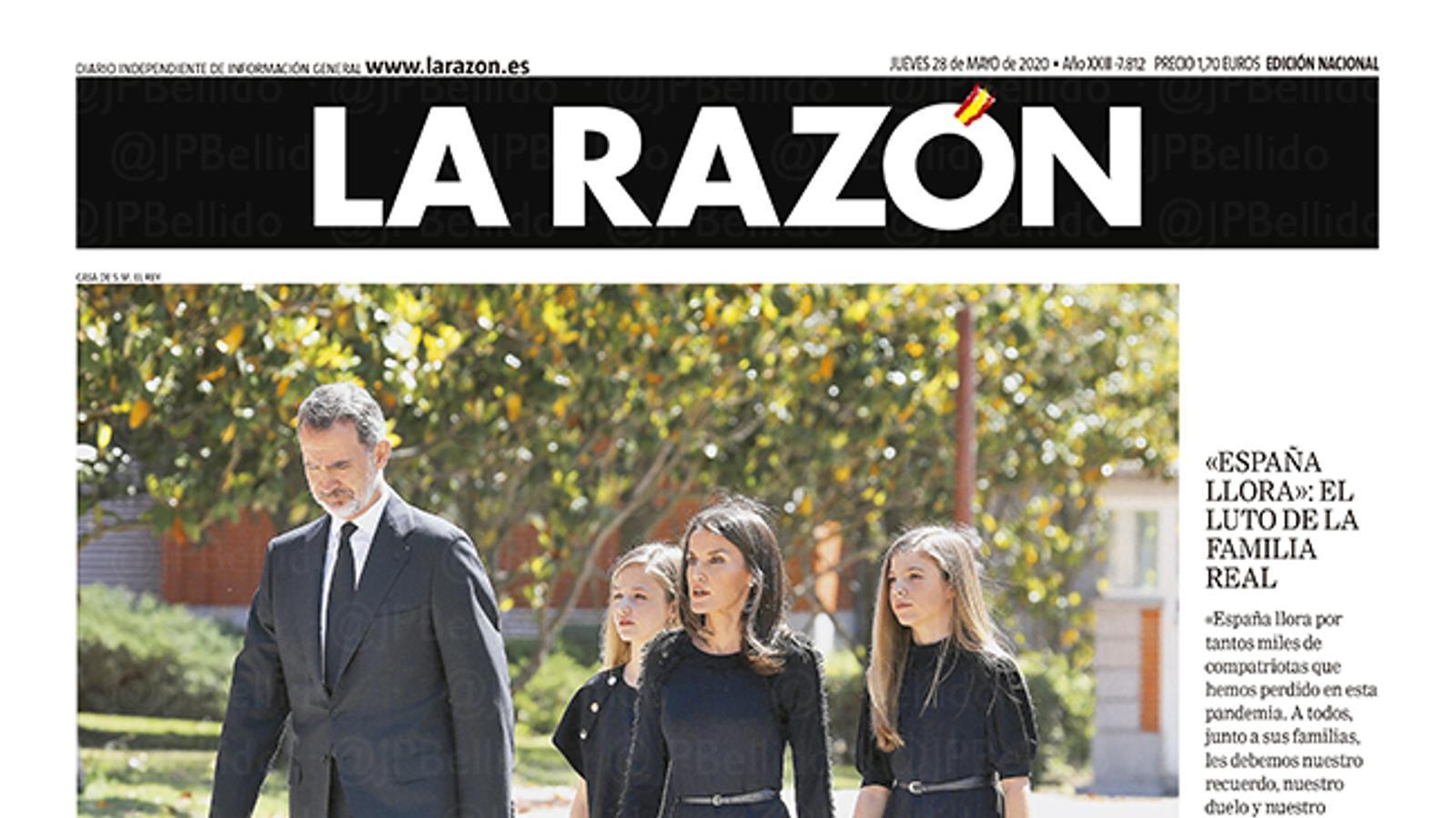 La portada de 'La Razón' del 28 de maig de 2020