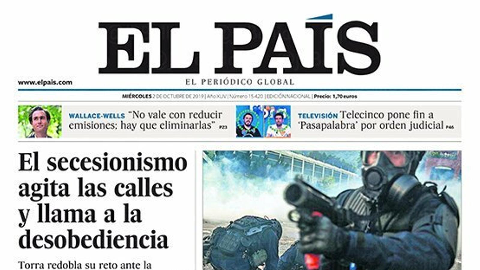 """""""El secessionisme agita els carrers i crida a la desobediència"""", portada d''El País'"""