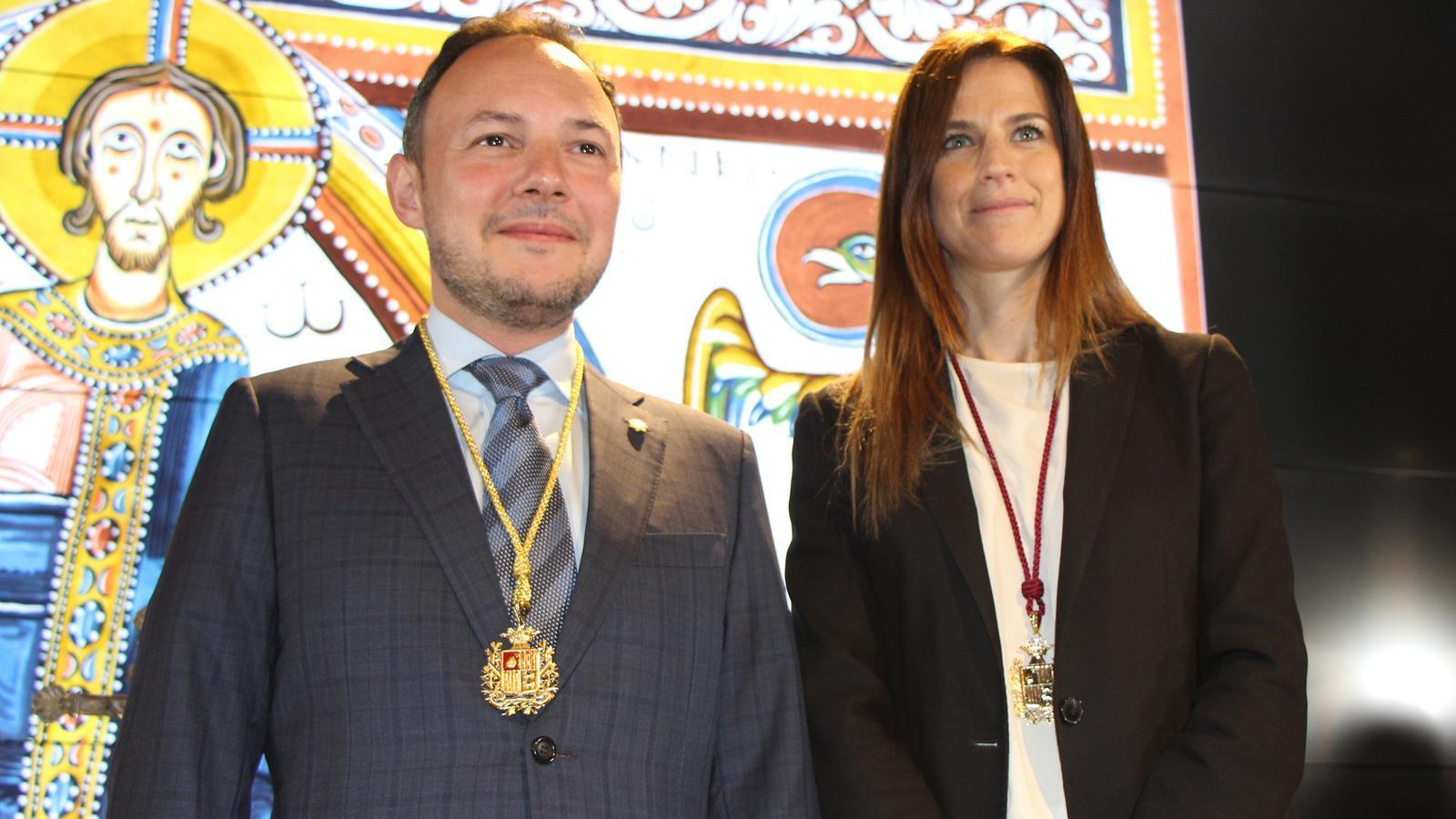 Sílvia Riva, ministra de Cultura i Esports amb Xavier Espot, cap de Govern. / M. R. F. (ANA)