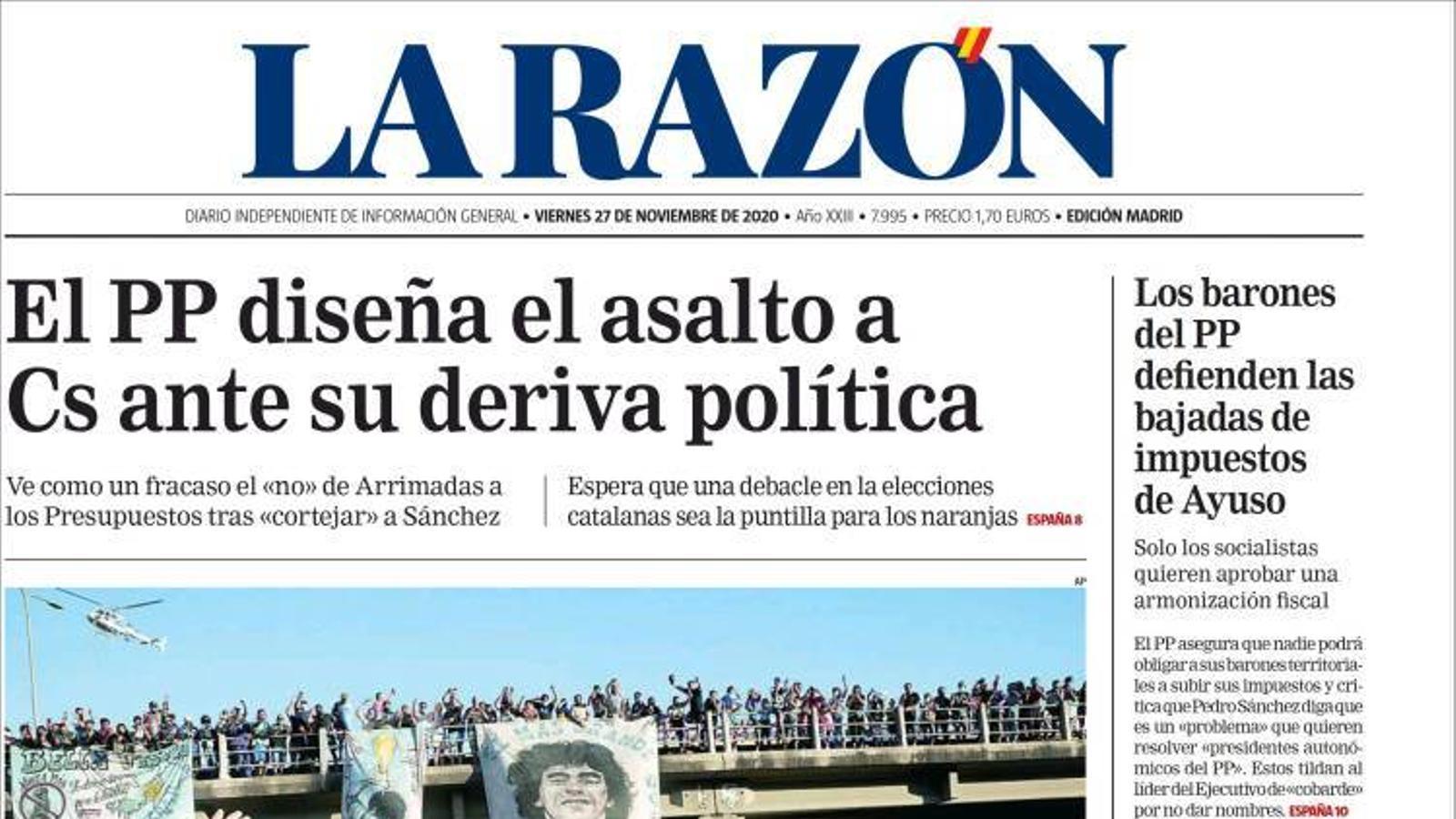 Portada 27 novembre 2020 La Razón