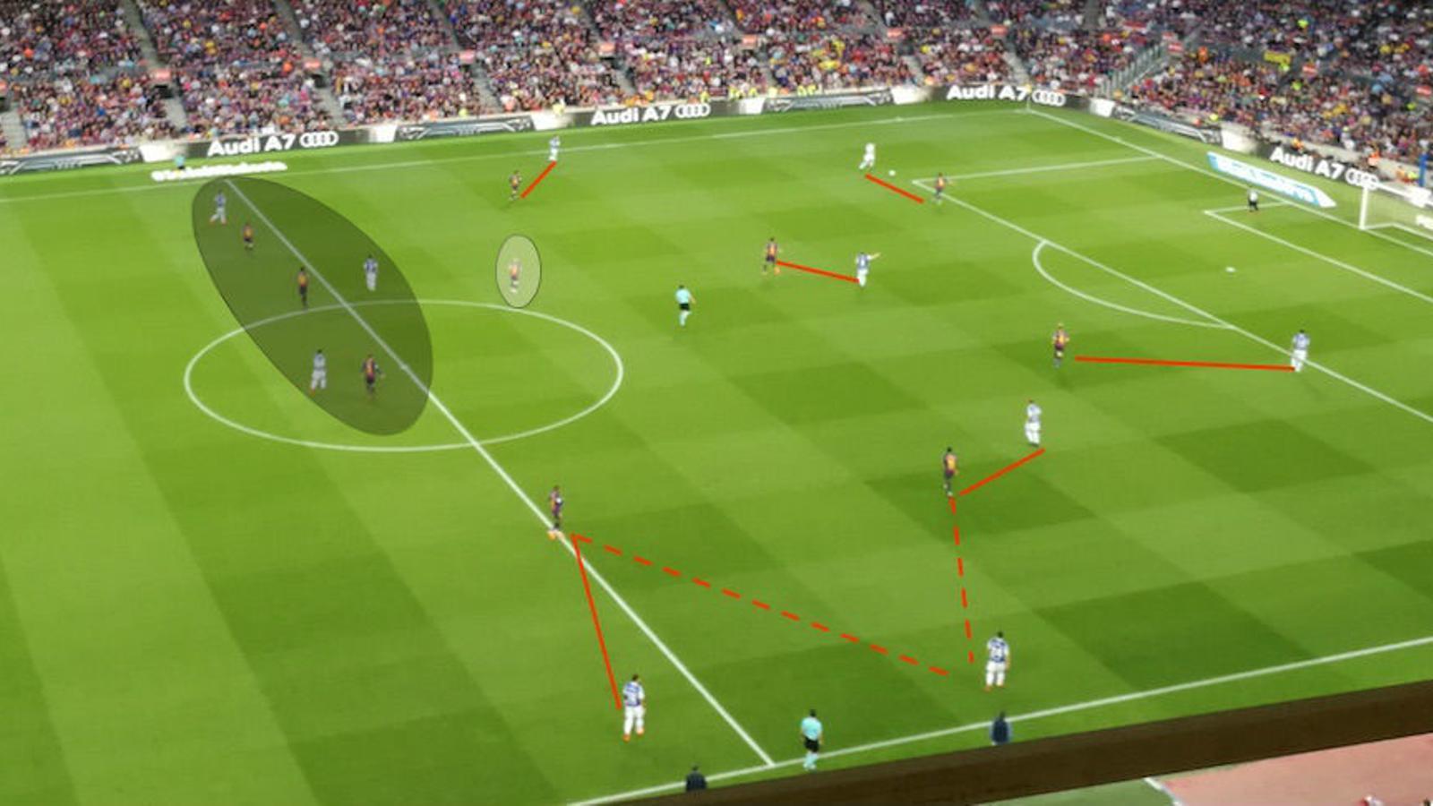 Pressió alta del Barça, amb Iniesta compensant en zona neutra
