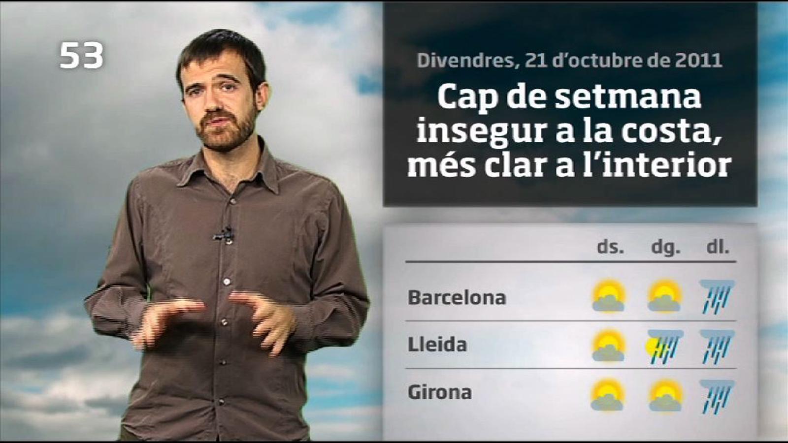 La méteo en 1 minut: les pluges arriben diumenge a última hora (22/10/2011)