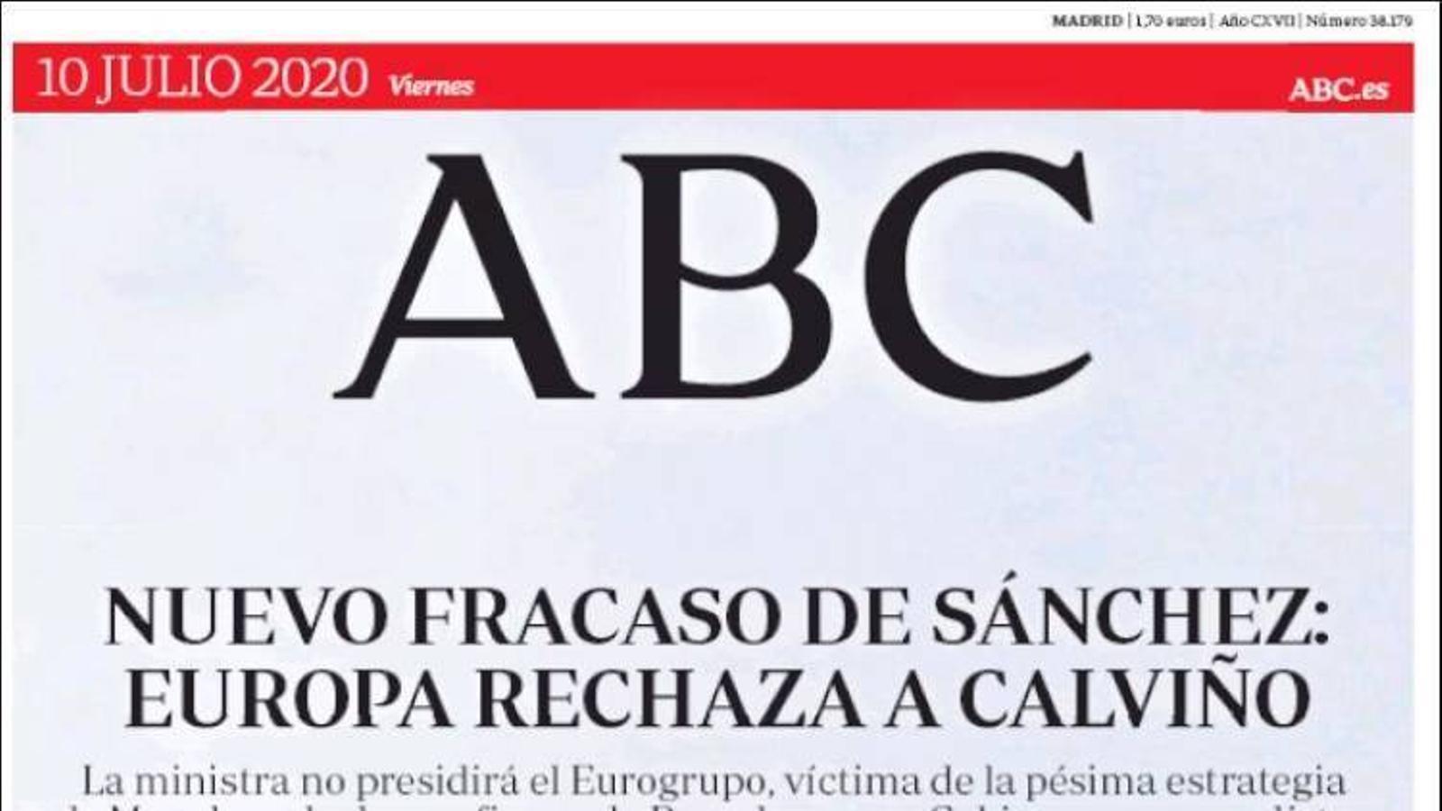 La portada de l''Abc' del divendres 10 de juny de 2020