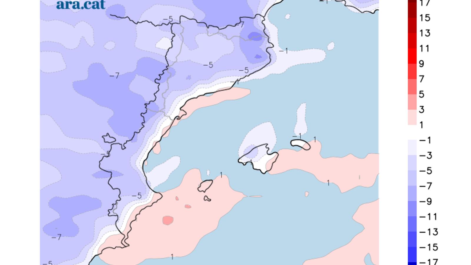 Diferència prevista entre la temperatura màxima d'avui i la de demà