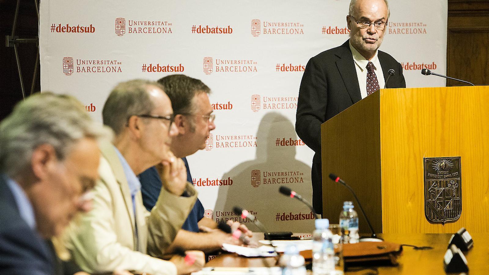 Antoni Castells ahir en el debat organitzat per la UB sobre el Procés.