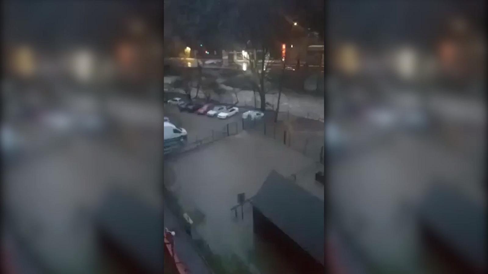 Inundacions a l'aparcament del Prat del Senzill, a Sant Julià de Lòria. / ARA ANDORRA