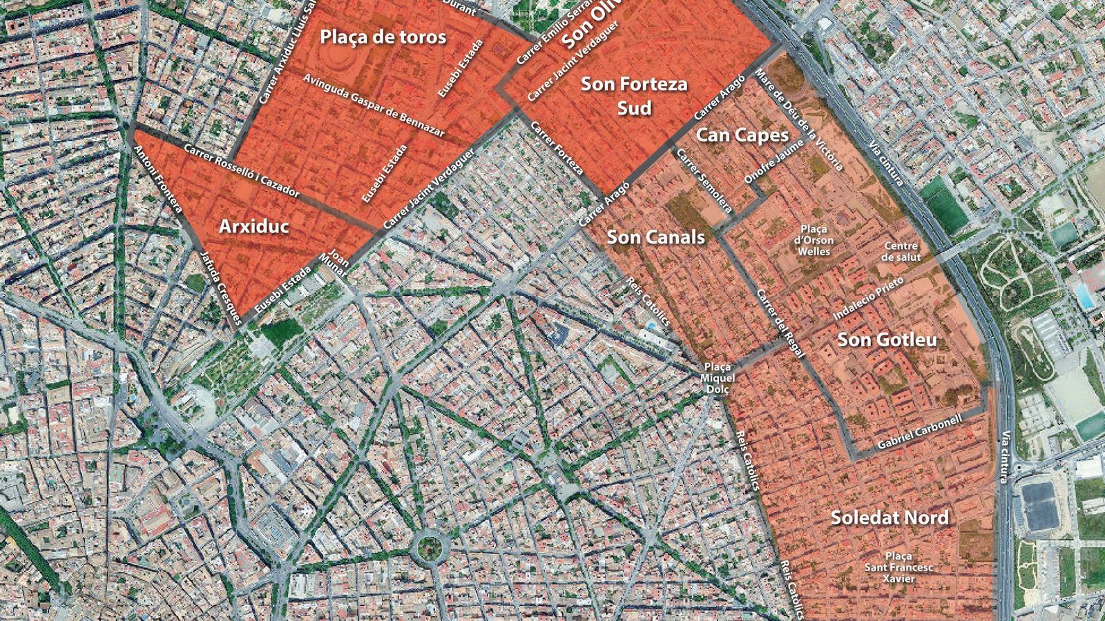 Mapa de les zones confinades de Palma.