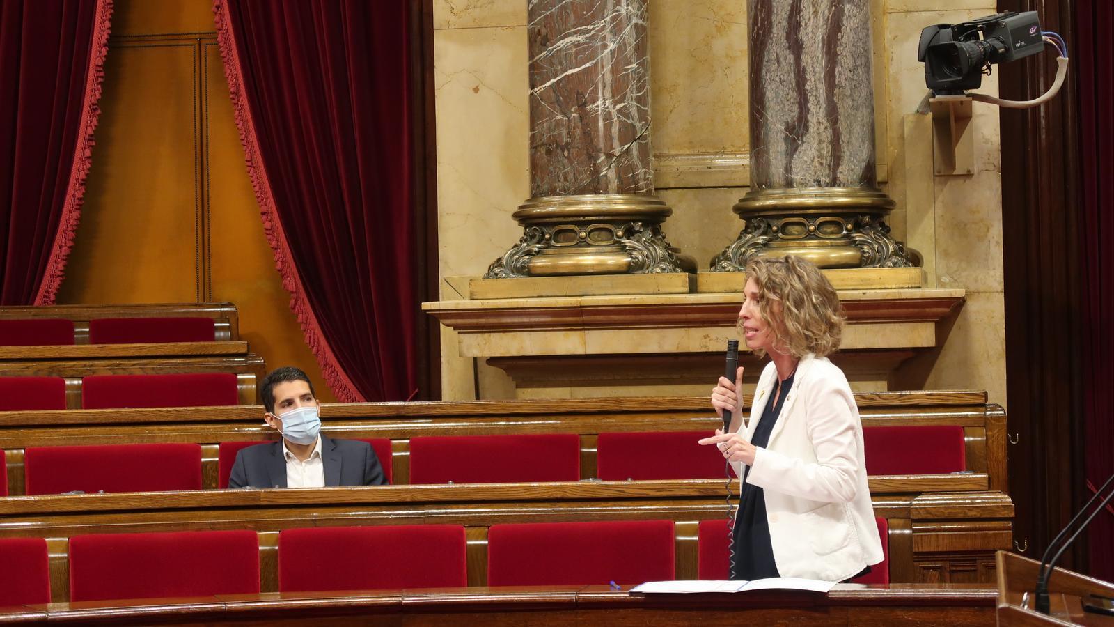La consellera Chacón durant la seva intervenció al Parlament.