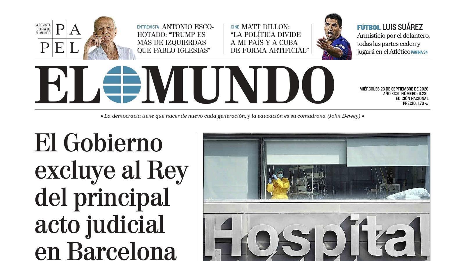 Portada d'El Mundo', 23 de setembre del 2020