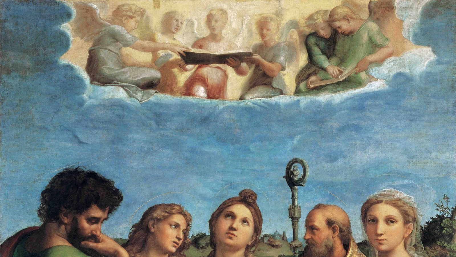 Rafael va ser conegut i popular sobretot pels seus quadres religiosos i en especial per les seves Sagrades Famílies i Verges amb Nen. A la imatge, un dels seus grans quadres d'altar: l'Èxtasi de Santa Cecilia (Santa Cecilia amb els sants Pau, Joan evangelista, Agustí i Maria Magdalena), una obra datada cap al 1518 que es conserva a la Pinacoteca Nacional de Bolonya.