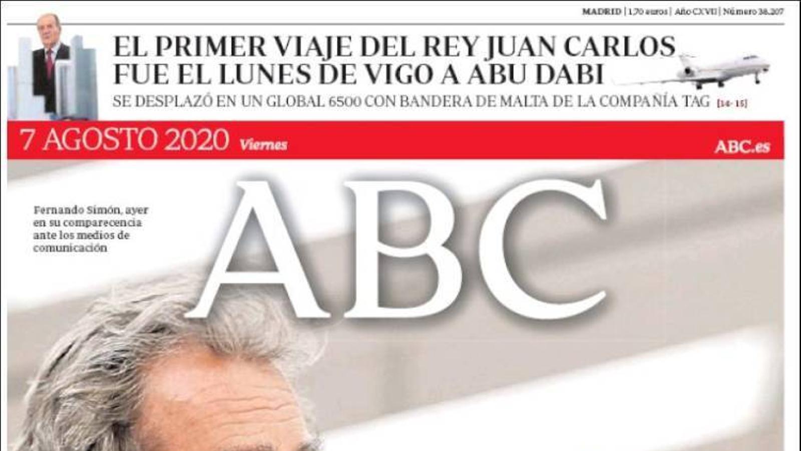 La portada de l''Abc' del 7 d'agost de 2020
