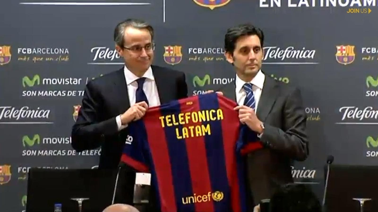 Javier Faus, vicepresident del Barça, i José María Álvarez Pallete, conseller delegat de Telefónica / BARÇA TV