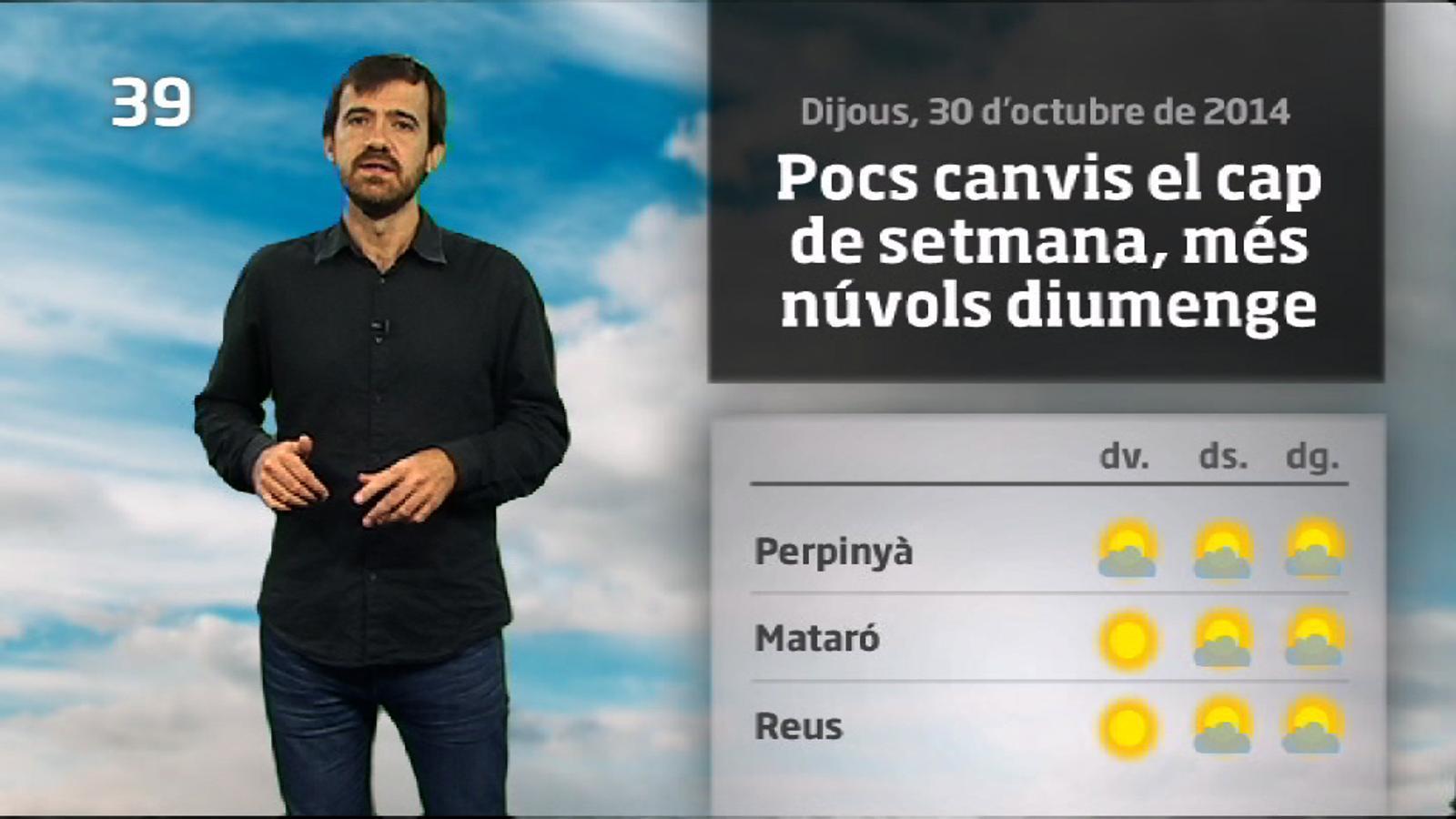 La méteo en 1 minut: canvis a partir de diumenge a última hora (31/10/14)