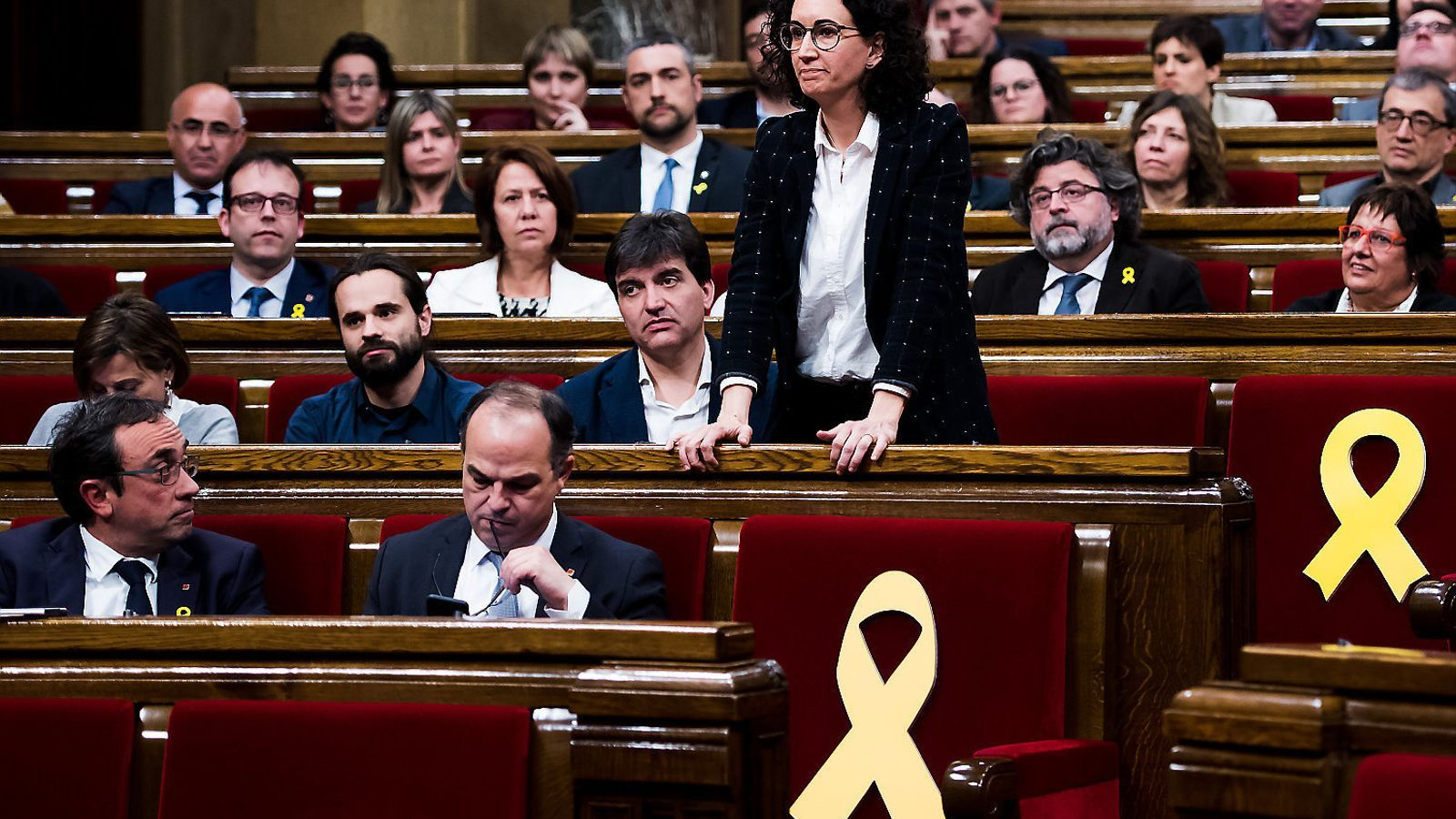 La secretària general d'ERC, Marta Rovira, durant el ple d'ahir al Parlament.