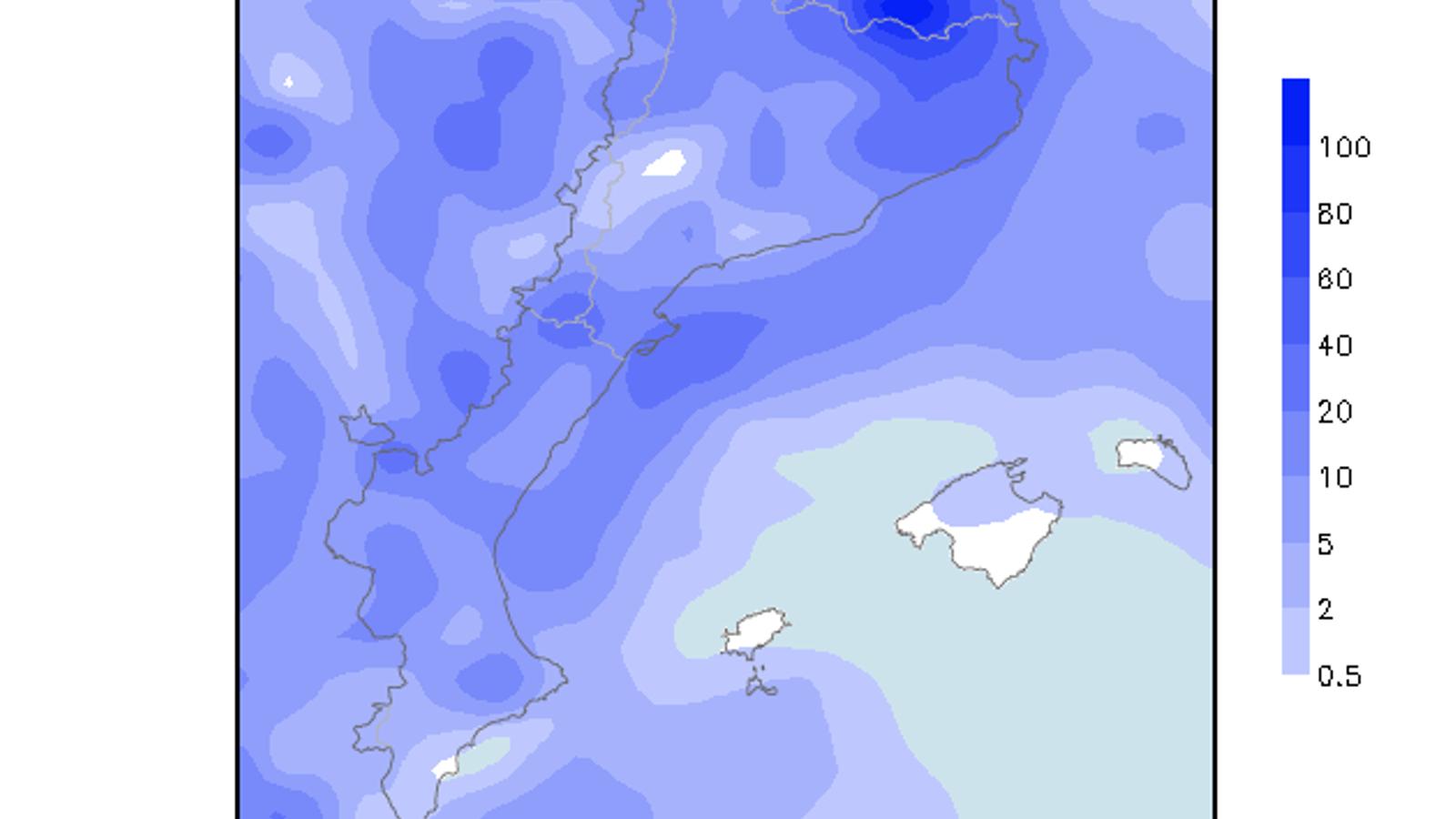 Acumulacions de precipitació previstes per a diumenge
