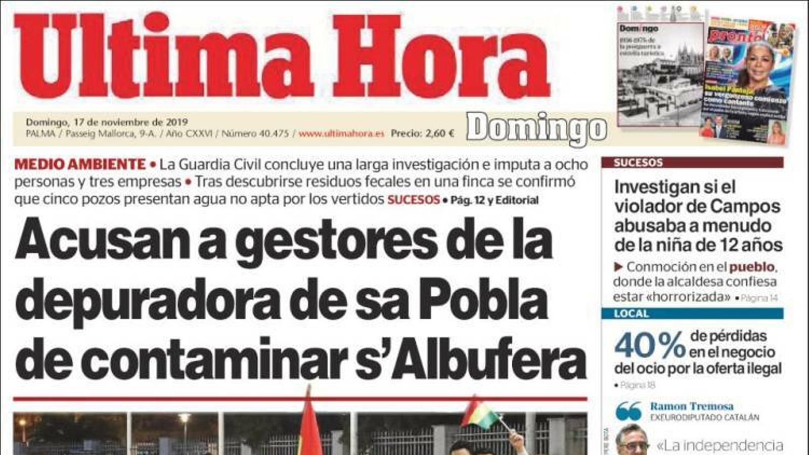 """""""Acusen els gestors de la depuradora de sa Pobla de contaminar l'Albufera"""", a la portada de l''Última Hora'"""
