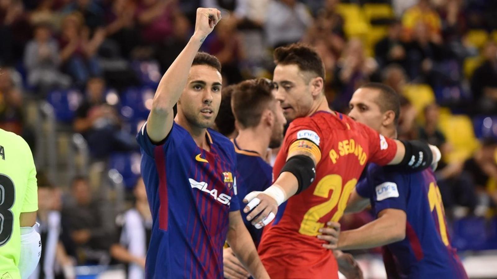 Aicardo celebra el primer gol del partit contra el Llevant