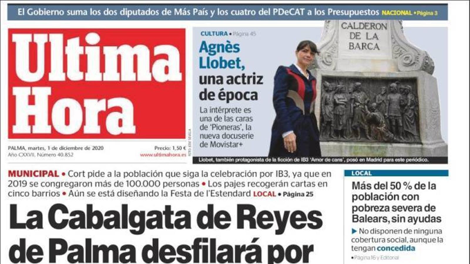 """""""La cavalcada de Reis de Palma desfilarà per carrers buits de públic"""", portada d''Última Hora'"""