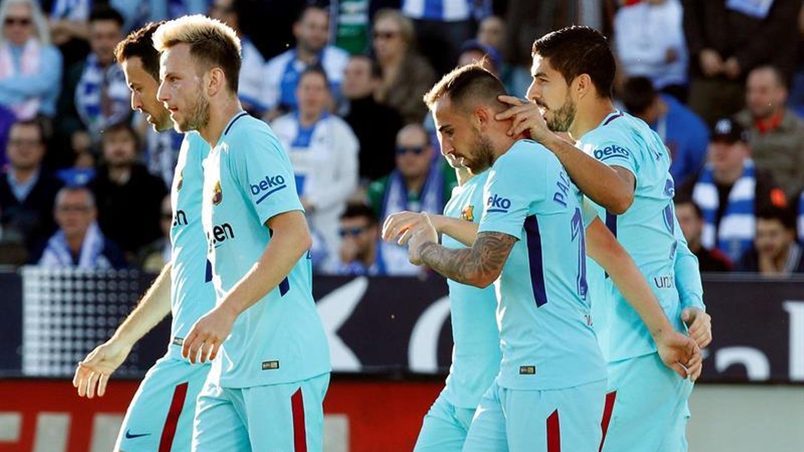 Els jugadors del Barça, celebrant el 0-1 a Leganés