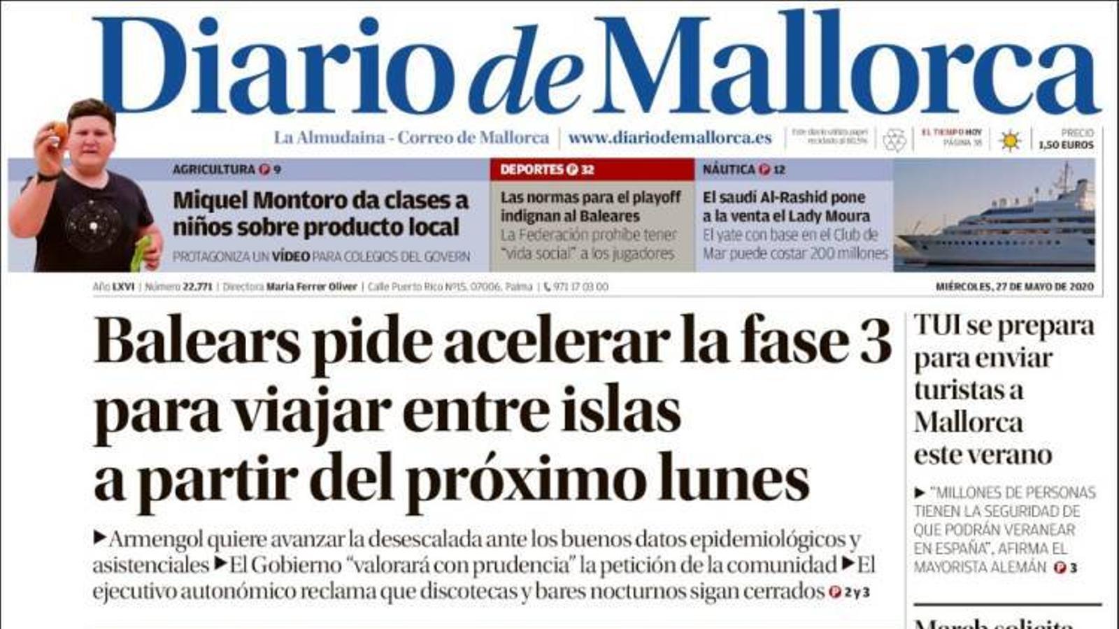 """""""Balears demana accelerar la fase 3 per viatjar entre illes a partir del pròxim dilluns"""", portada de 'Diario de Mallorca'"""