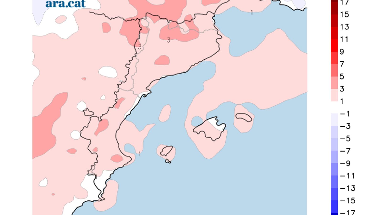 Diferència prevista entre la temperatura mínima d'avui i la de dimecres