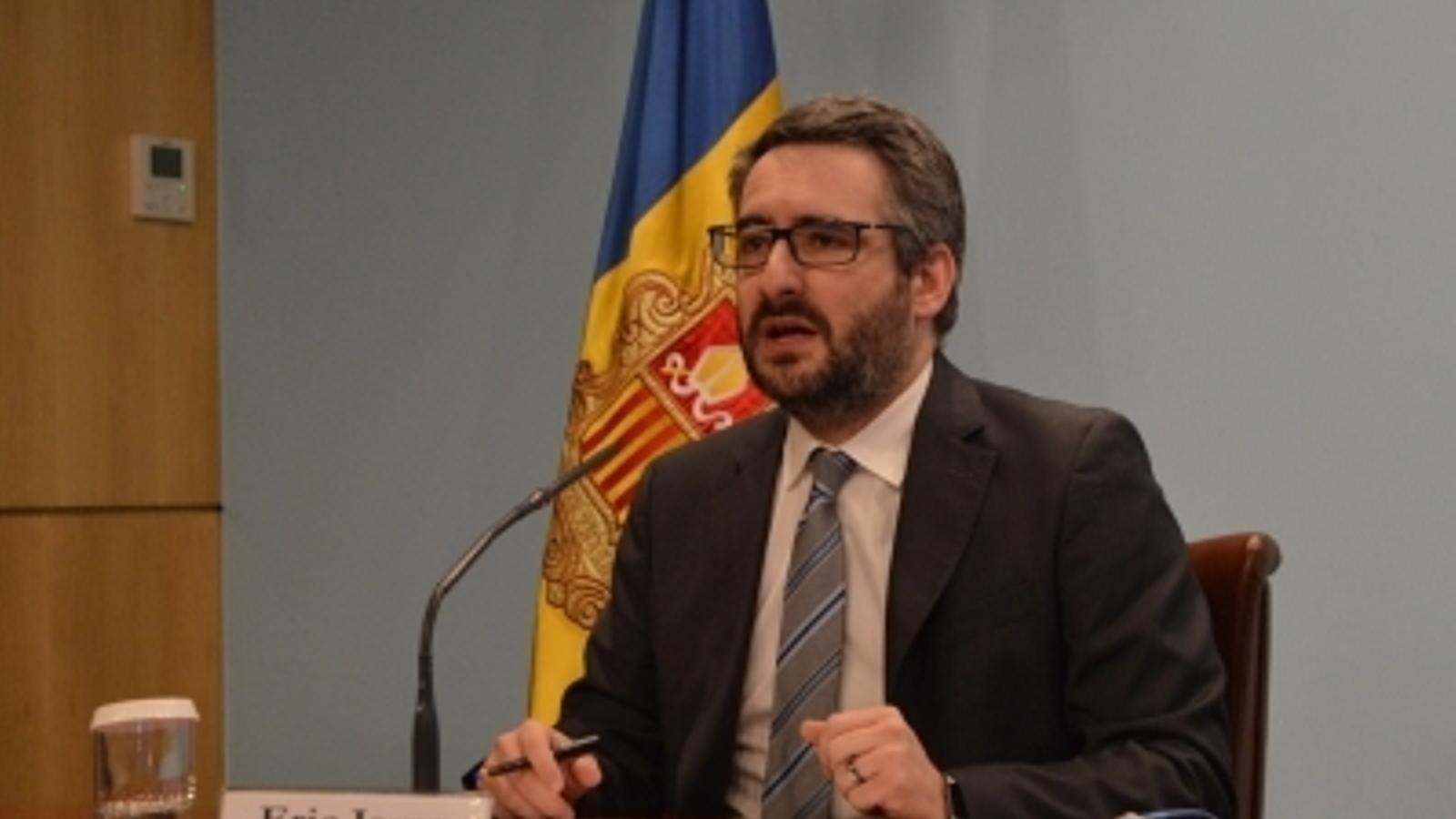 El ministre portaveu, Eric Jover, durant la roda de premsa posterior al consell de ministres d'aquest dimecres. / M.F. (ANA)